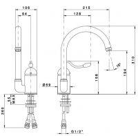 Кухонный смеситель Nicolazzi 3408 с поворотным изливом схема 1