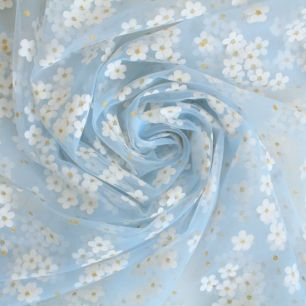 Мягкий фатин - Ромашки на голубом 150*25 см.