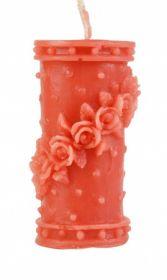 Силиконовая форма для свечи столбик с розами 9,5 см
