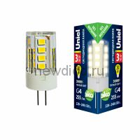 Лампа светодиодная LED-JC-220/3W/G4/CL 3000К прозрачная Uniel