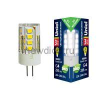 Лампа светодиодная LED-JC-220/3W/4000K/G4/CL GLZ09TR прозрачная 4000К Uniel