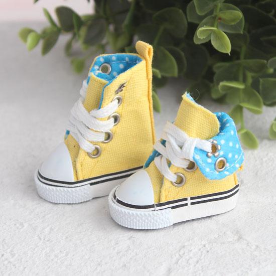 Обувь для кукол - Высокие кеды с отворотом 5 см. (желтые)