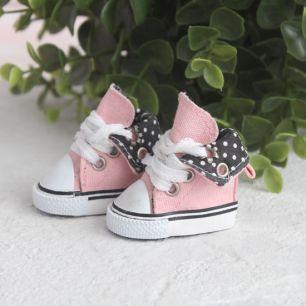 Обувь для кукол - Высокие кеды с отворотом 5 см. (розовые)