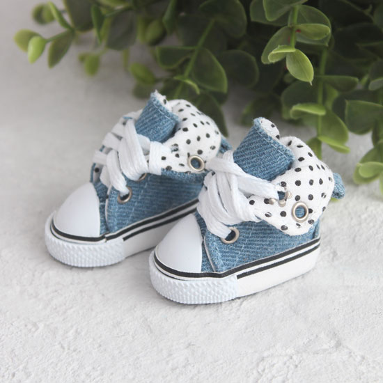 Обувь для кукол - Высокие кеды с отворотом 5 см. (голубые джинсовые)