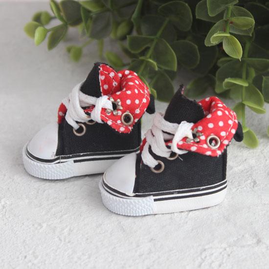 Обувь для кукол - Высокие кеды с отворотом 5 см. (черные)