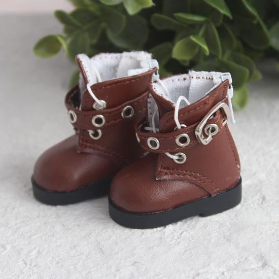 Обувь для кукол - Высокие коричневые ботинки с люверсами 5 см.