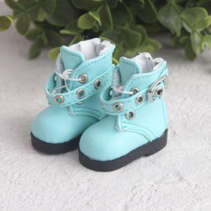 Обувь для кукол - Высокие мятные ботинки с люверсами 5 см.