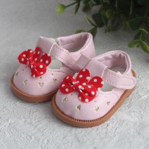 Обувь для кукол - Розовые сандалики с красными бантами 7,5 см.