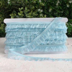 Тесьма резинка-рюш, голубая 25 мм.