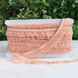Тесьма резинка-рюш, персиковая 25 мм.