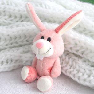Зайка NICI розовый с сердечком, 10 см.