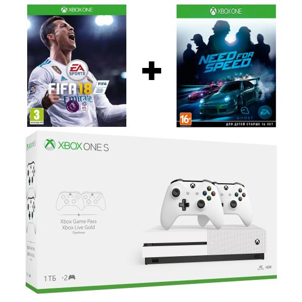 Игровая приставка Microsoft Xbox One S 1 TB + 2-ой Геймпад + FIFA 18 + NFS