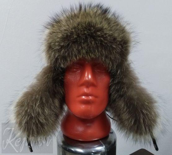 Меховая шапка ушанка кожаная с мехом енота