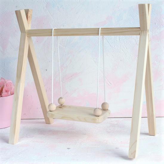 Аксессуар для куклы - Качели деревянные