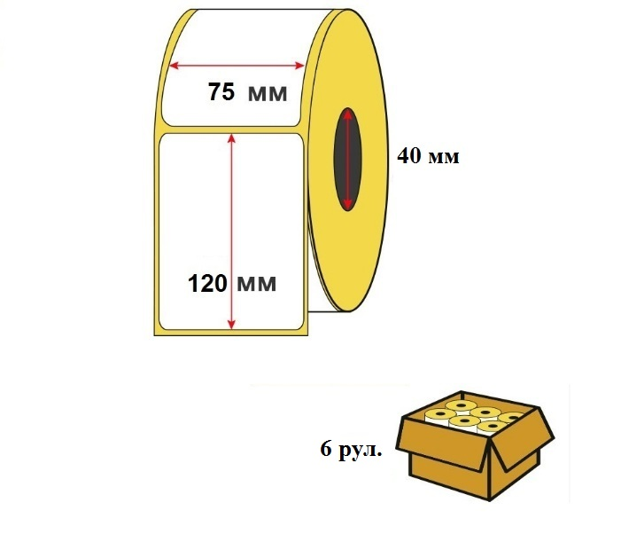 Термоэтикетка 75х120 мм (250 шт/рул) ЭКО для OZON в упаковке 6 шт.