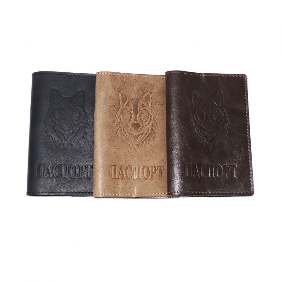 Обложка для паспорта кожаная тиснение  Волк