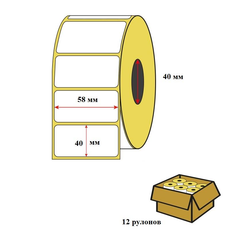 Термоэтикетка 58х40 (700 шт/р) втулка 40 мм в упаковке 12 шт