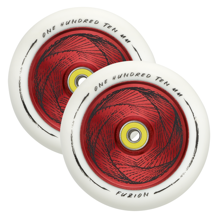 Колеса 2 шт. Fuzion 110 mm Hollowcore Wheel (pair) - Marker / White Red Core White PU