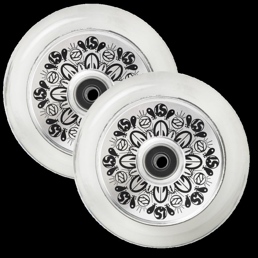 Колеса д/сам. Fuzion Leo Spencer Sig Wheel (pair) - Silver Core / Clear PU