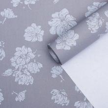 """Бумага упаковочная крафт """"Цветы светло-серые"""", 0,55 х 10 м, 70 г/м²"""