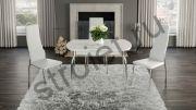 Стол обеденный раздвижной со стеклом «Рио» (Белый/Стекло белый глянец)