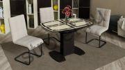 Обеденный стол Монако 1100x750x750мм Венге/ Стекло бежевое с рисунком