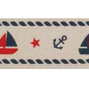 Лента хлопковая МОРЕ 20 мм. с печатным рисунком  HEMLINE (VR20.033)