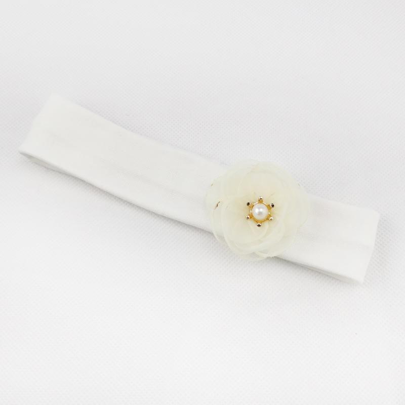 п1116-32 Повязка трикотажная узкая Цветочек молочная