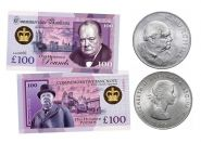 НАБОР 1 крона 1965г + 100 фунтов - Уинстон Черчилль (Sir Winston Leonard Spencer Churchill. England).