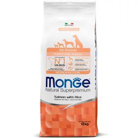 Monge Dog Monoprotein Puppy&Junior Корм для щенков всех пород, лосось с рисом. 12 кг