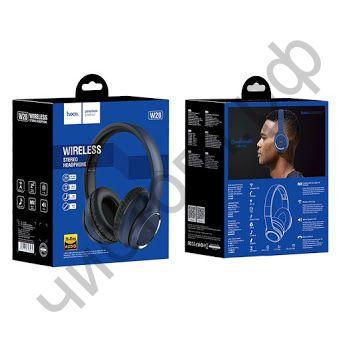 Bluetooth гарнитура стерео HOCO W28 5.0 microSD синий полноразмер