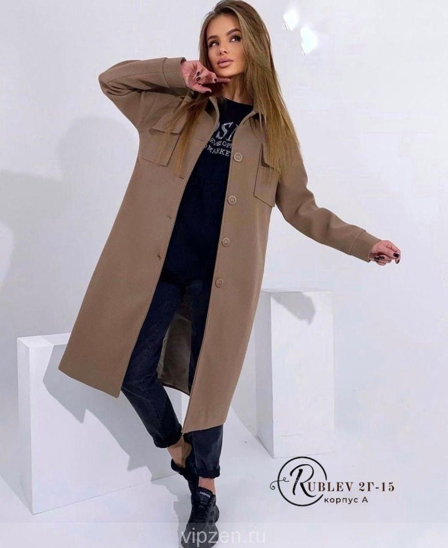 Удлиненное пальто рубашечного кроя