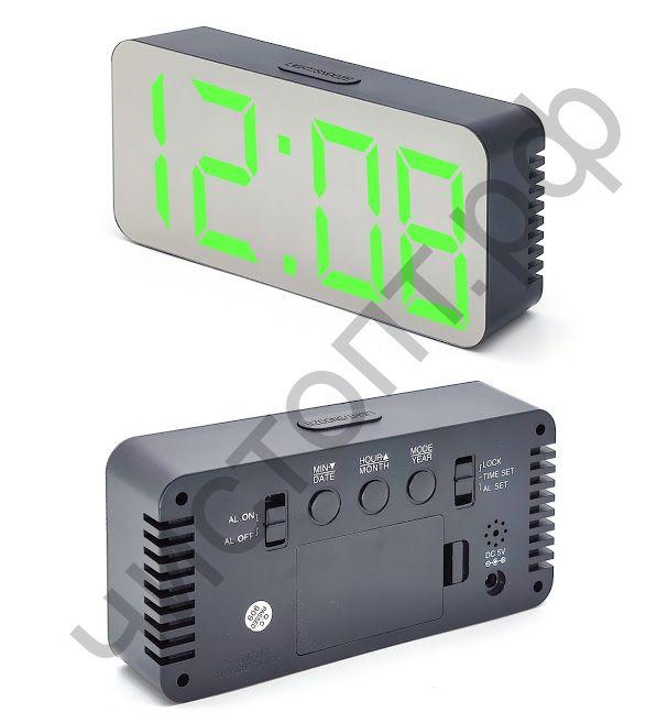 Часы  эл. сетев. OT-CLT05 (будильник, температура, дата) (без блока) (5В)