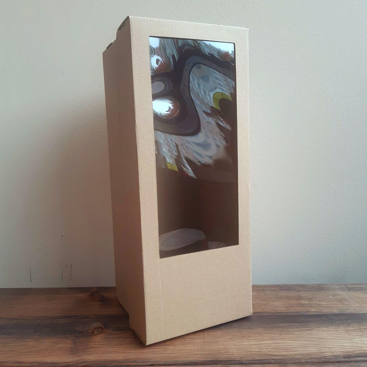 Коробка подарочная гофрокартон 350*140*140 мм прямоугольная дно+крышка с окном