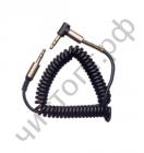 Кабель(3.5) папа-папа 3.5 stereo plug на 3.5 stereo plug  цветной витой гелевый Металл угловой штекер (1.0м) без упак