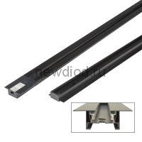 Шинопровод осветительный UBX-Q123 RS2 BLACK 200 SET01 в наб заглуш+ввод пит, 1-фаз встраив черный 2м