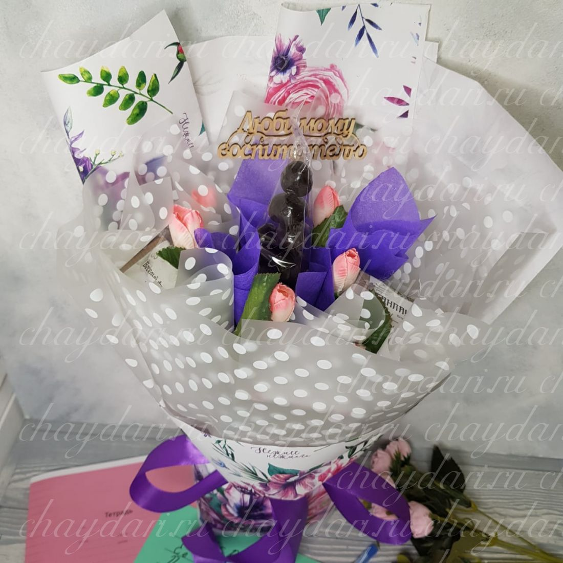 Букет из чая и сладостей «Пионы для воспитателя»
