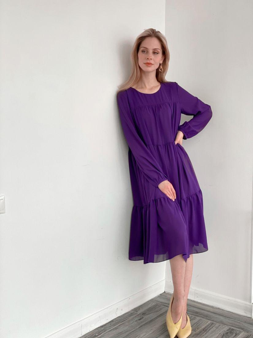 s3501 Платье из микрошифона на подкладе многоярусное фиолетовое