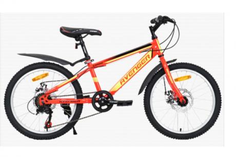 """Велосипед 20"""" AVENGER C200D красный/желтый неон"""