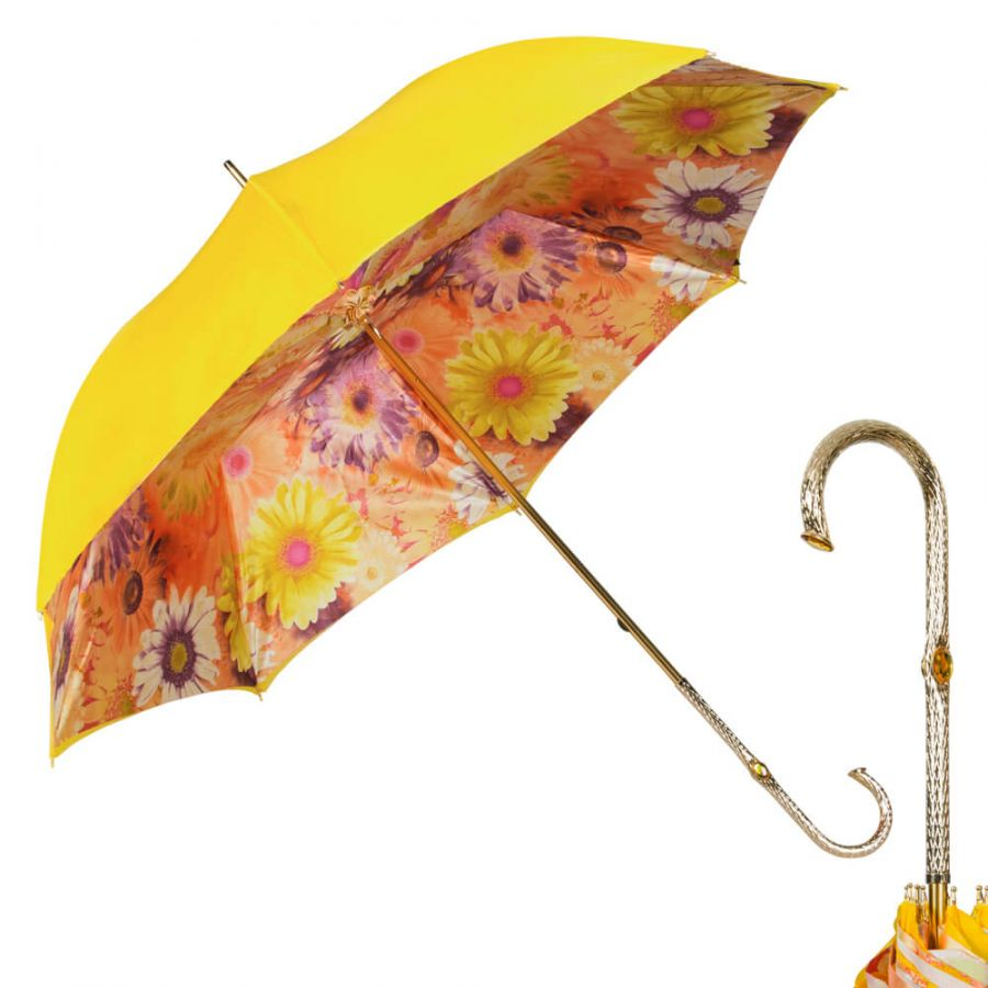 Зонт-трость Pasotti Yellow Gerbera Oro
