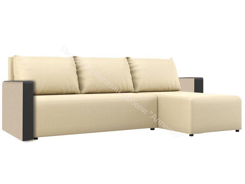 "Угловой диван ""Алиса 3"" Savana Camel/Teos Dark Brown Кат.1"