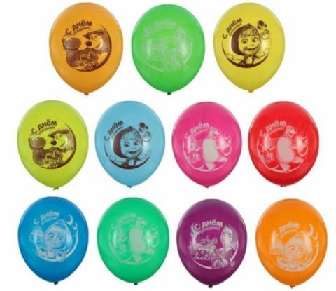 Маша и Медведь С Днем Рождения шар латексный с гелием