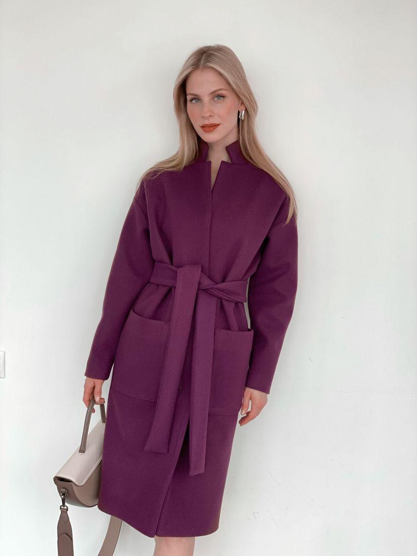 s3973 Пальто в цвете lilac grey с накладными карманами