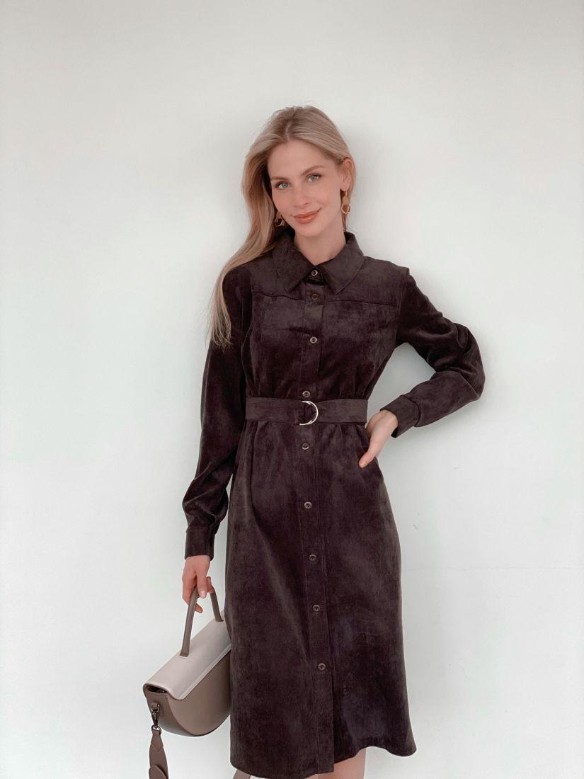 """s3784 Платье-рубашка из вельвета в цвете """"шоколад"""""""