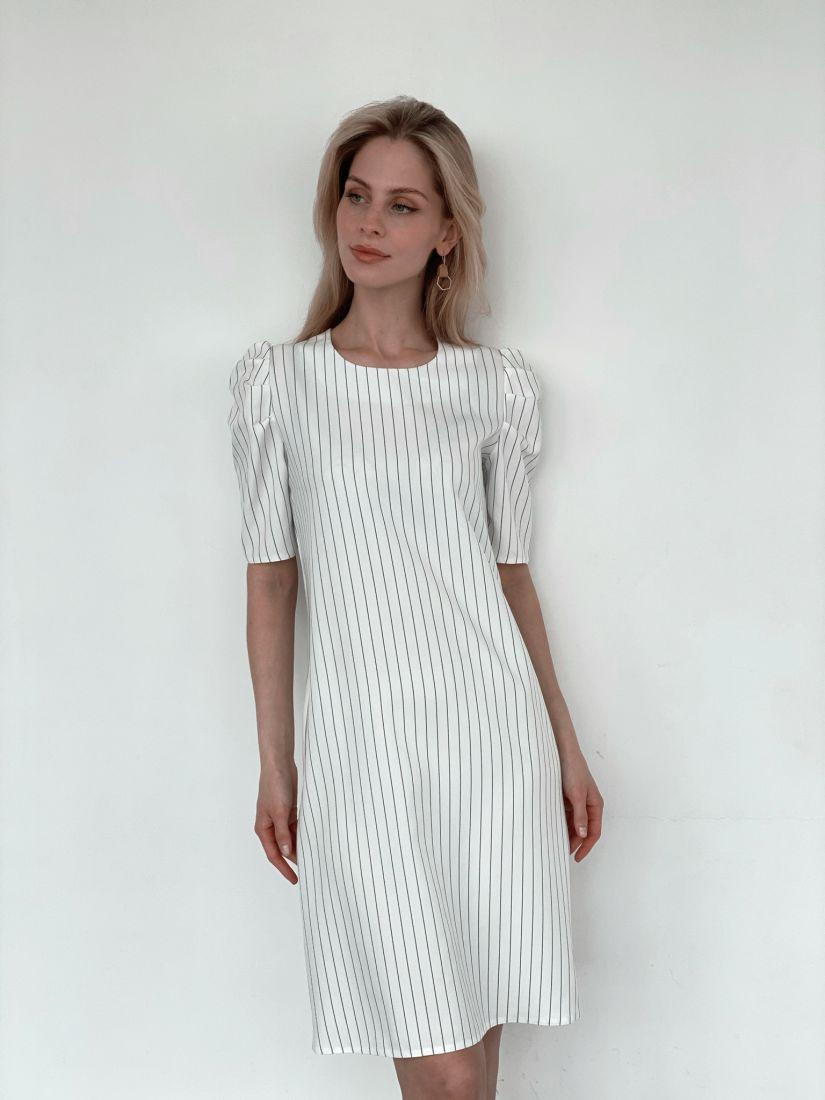 3251 Платье с объёмными рукавами белое в полоску