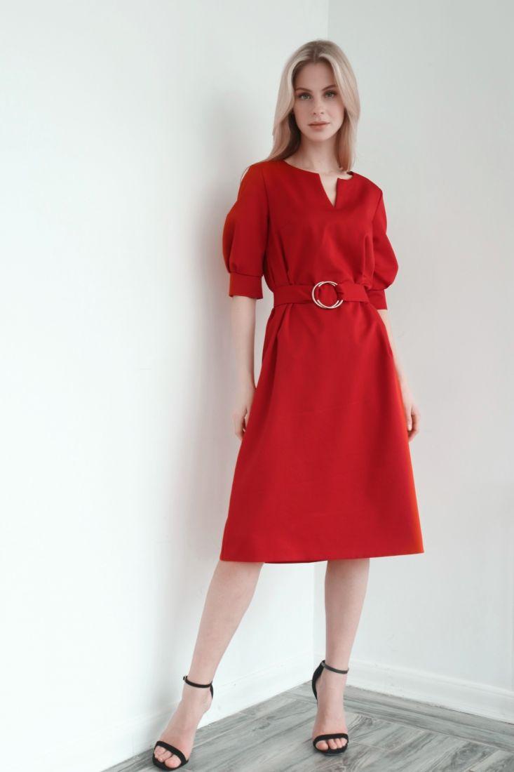 s3976 Платье с поясом на кольцах в цвете red pear