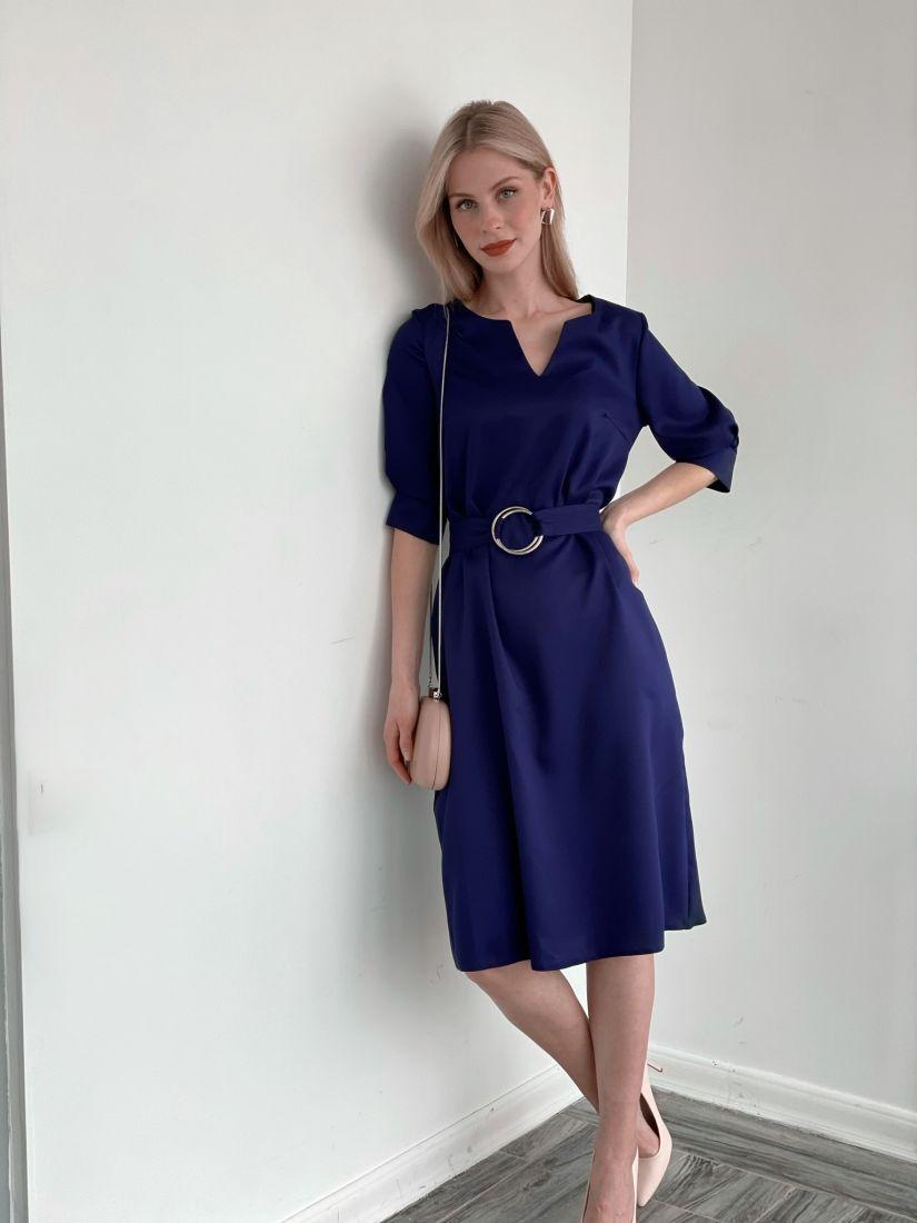 s3977 Платье с поясом на кольцах тёмно-синее