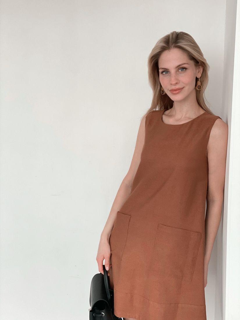 s3981 Платье из микровельвета в цвете camel