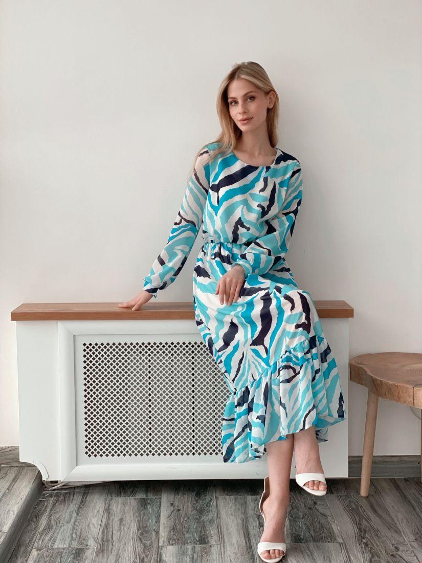 s3986 Платье из микрошифона в морской расцветке (на подкладе)