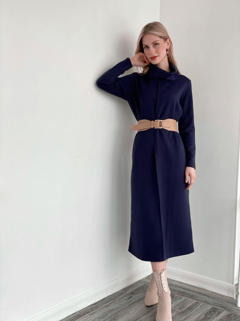 s3987 Платье-свитер с планкой тёмно-синее